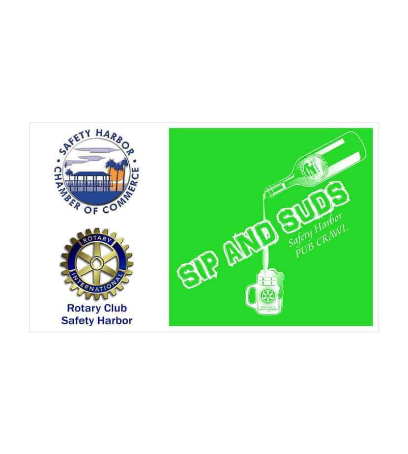 Sip and Suds Safety Harbor Pub Crawl Fundraiser sponsored by Safety Harbor Chamber of Commerce & Rotary Club of Safety Harbor Proceeds will support Rotary's Eradicate Polio and a summer literacy program for children in need at the Mattie Williams Neighborhood Family Center and the members benefit program, and building renovations for the Chamber of Commerce. Saturday, May 11, 2013 6:00 - 9:30pm Tickets: $25 - four drink tickets plus a t-shirt or $20 - two drink tickets plus a t-shirt The Pub Crawl will begin at the east end of Main Street for the East Crawl and at the west end of Main Street for the West Crawl. The two groups will end at the Gazebo for the finale. Committed businesses to date include Barfly/Saltwater Grill, Copperheads Taphouse, Safety Harbor Resort and Spa, Nolan's Pub, Southern Fresh, Tapping the Vine, 8th Ave. Pub, and Whistle Stop. Tickets will be available at the Chamber. Credit cards will be accepted. EAST: Nolan's Pub, Bar Fly, Southern Fresh, Safety Harbor Resort and Spa WEST: Copperheads Taphouse, Whistle Stop, Tapping the Vine, 8th Ave Pub TO PURCHASE TICKETS, CLICK ON THE BELOW LINK: http://events.r20.constantcontact.com/register/event?oeidk=a07e7f4fbo1dde8d7d1&llr=dhmeildab Location: Downtown Safety Harbor Close Window